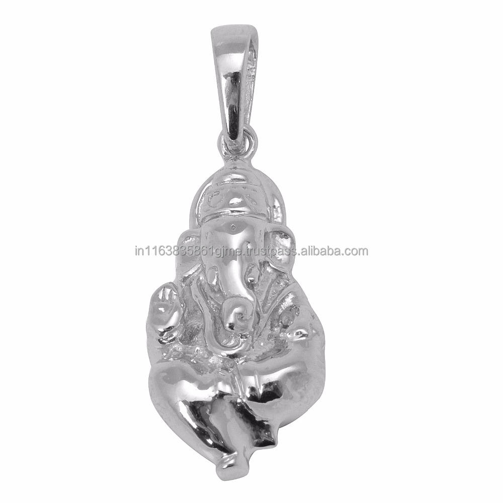 "Pure 925 Sterling Silver Pendant, Indian Popular God ""GANESH"" Silver Pendant Jewelry"