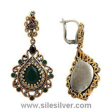 Authentic Design Handmade Silver Earrings With Emerald and Ruby