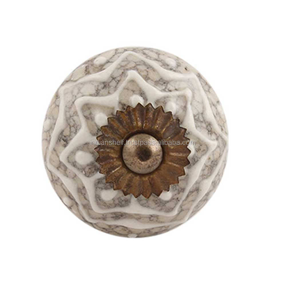Handmade Cream Crackle Ceramic Knobs Vintage Door Crack-174