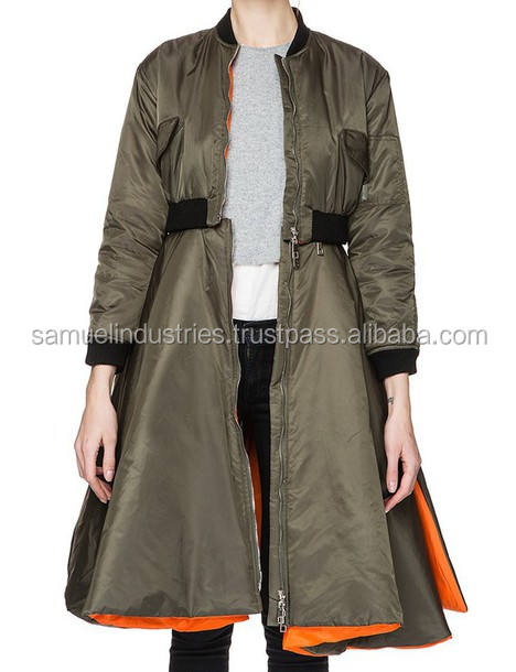 Removable skirt bomber jacket/Detachable Zip bomber flight jacket/orange lining long detachable bomber jacket with skirt