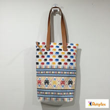 Dobbytex Colourful Cute Elephant 104 Canvas tote handmade bag leather TPU strap