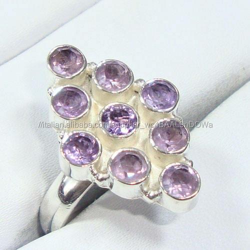Ametista anelli 925 gioielli in argento all'ingrosso Indiani semi preziosa squilla i monili