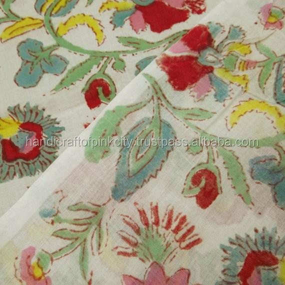 Cotton Hand Block Printed Floral Sanganeri Jaipuri Fabric Textile / Fabric / SOFT