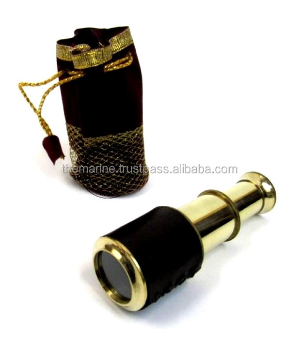 High Quality 5 Brass Retractable Telescope with Pouch Nautical Brass Pullout Telescope Marine Pirate Telescope Collectible Gift