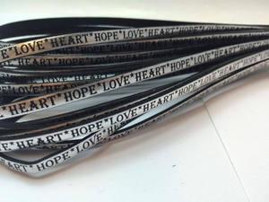 Cordoncini Piatti in Pelle Nappa con Frasi in Inglese - Hope Love Heart - 5MM - Argentato con Scritte in Nero