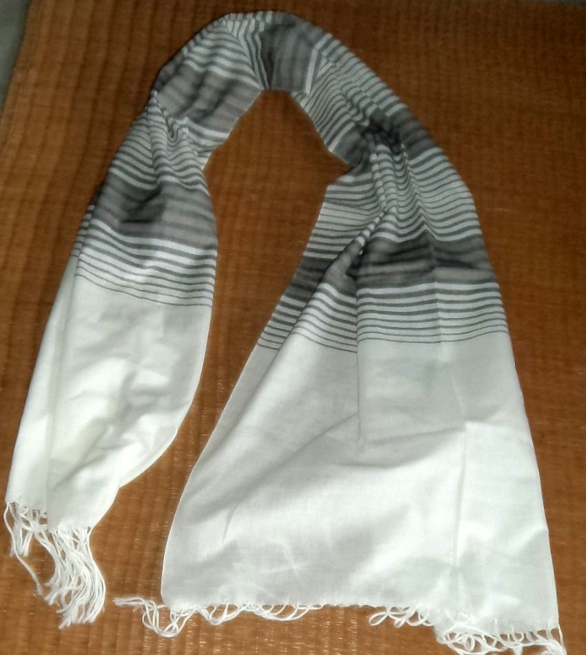 Hand woven white & grey cotton scarf
