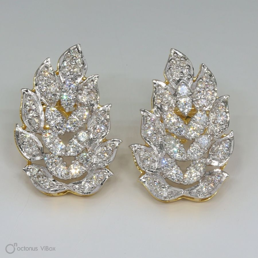 Real Diamond Leaf Earring in 18K Yellow Gold