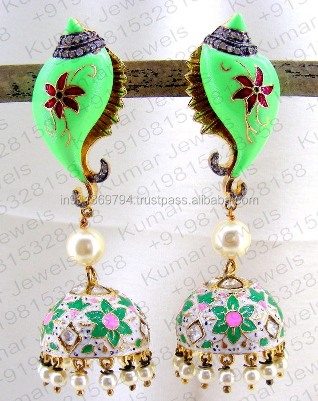 Pearl Beaded Oxidized CZ Stone Kundan Enamel Handmade Work Fashion Temple Style Neon Color Jhumka Earrings