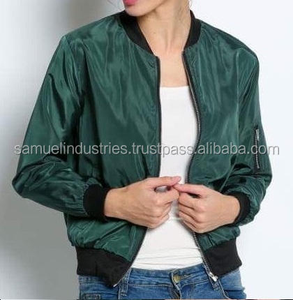 Girls Army Green Jacket Satin Baseball Bomber Jacket