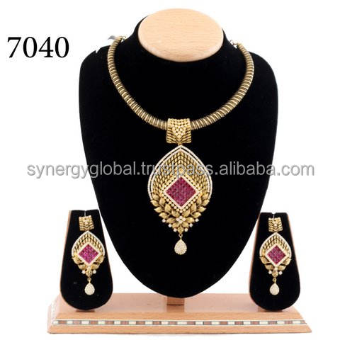 American diamond CZ stone party wear pendant set with pearl drop -Bollywood style pendant set- Wholesale Indian Jewelry