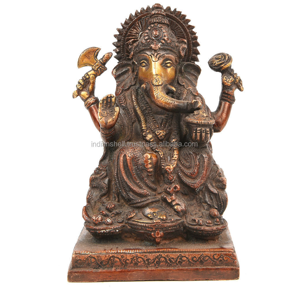 Indian Brass Antique Bronze Seated Bronze Elephant God Ganesh Statue 3.5 x 4 Inches SMG-328-1