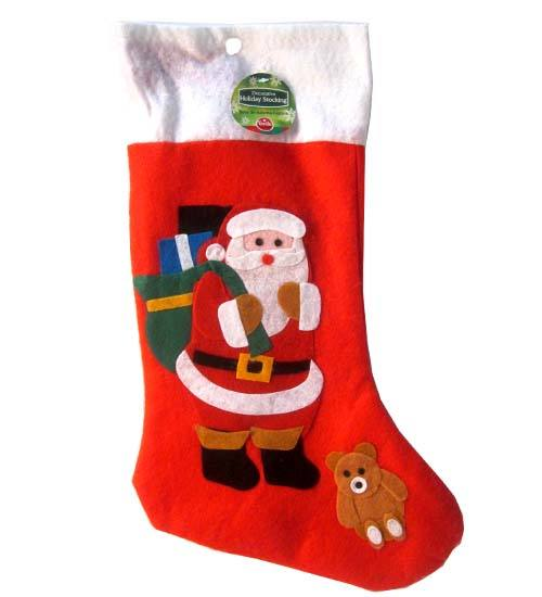 Xmas Sock w Stuck Design, felt, 19in