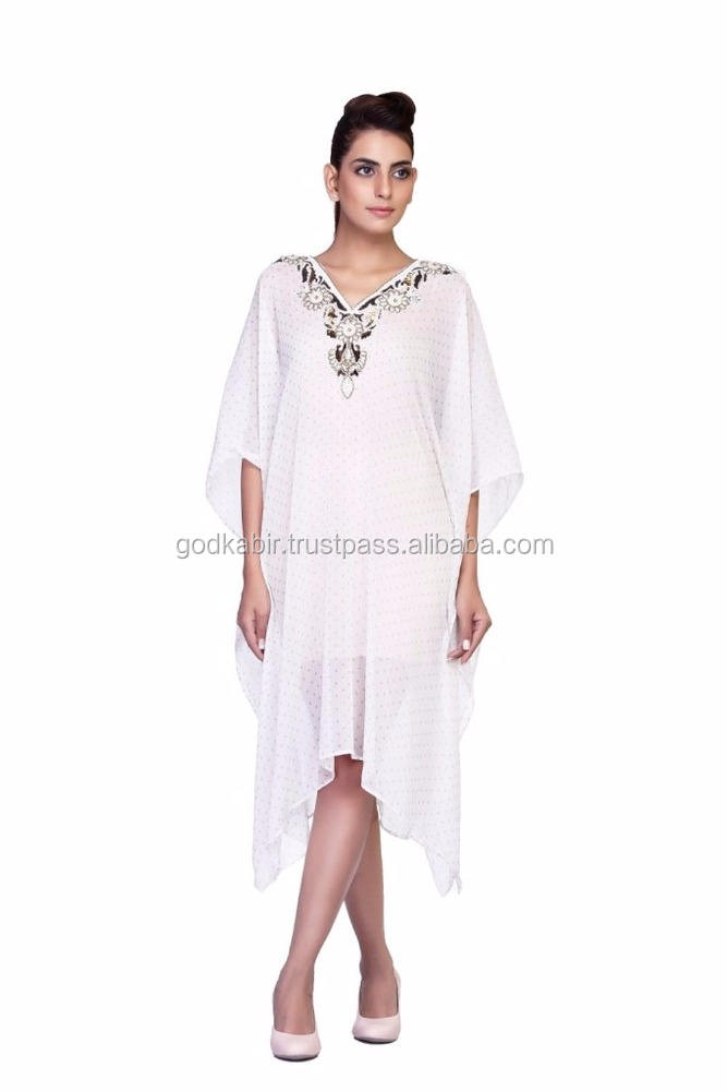 New Women's Machine Printed Kaftan With Hand work At Neck/Soft And Silk fancy handwork Caftan in wholesale rate.