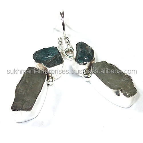 Natural rough stone silver earrings Jewelry
