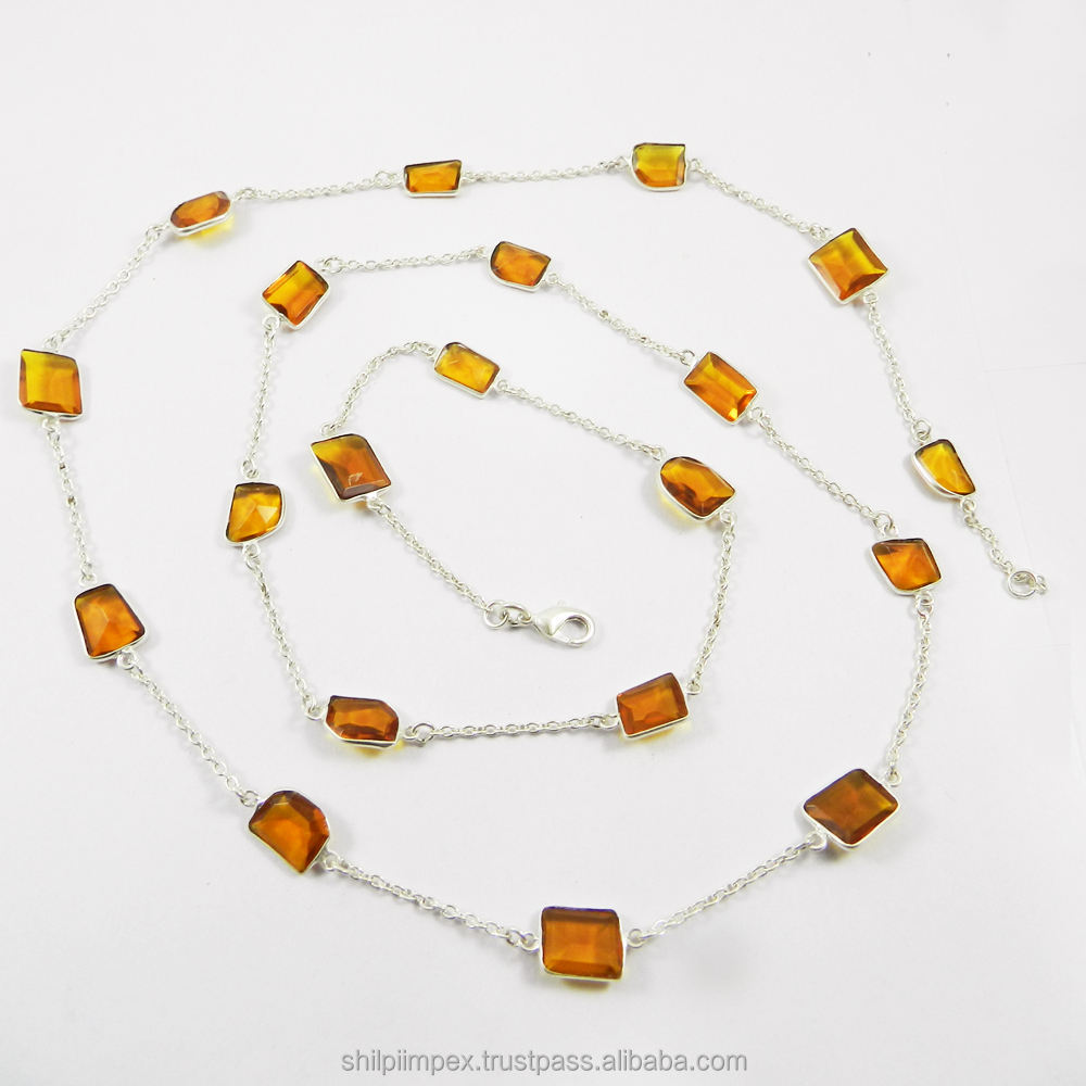 Most Exotic Collection Dark Citrine Hydro Gemstone Necklace Bohocraft Handmade Chain Necklace Solid 925 Sterling Silver Jewelry