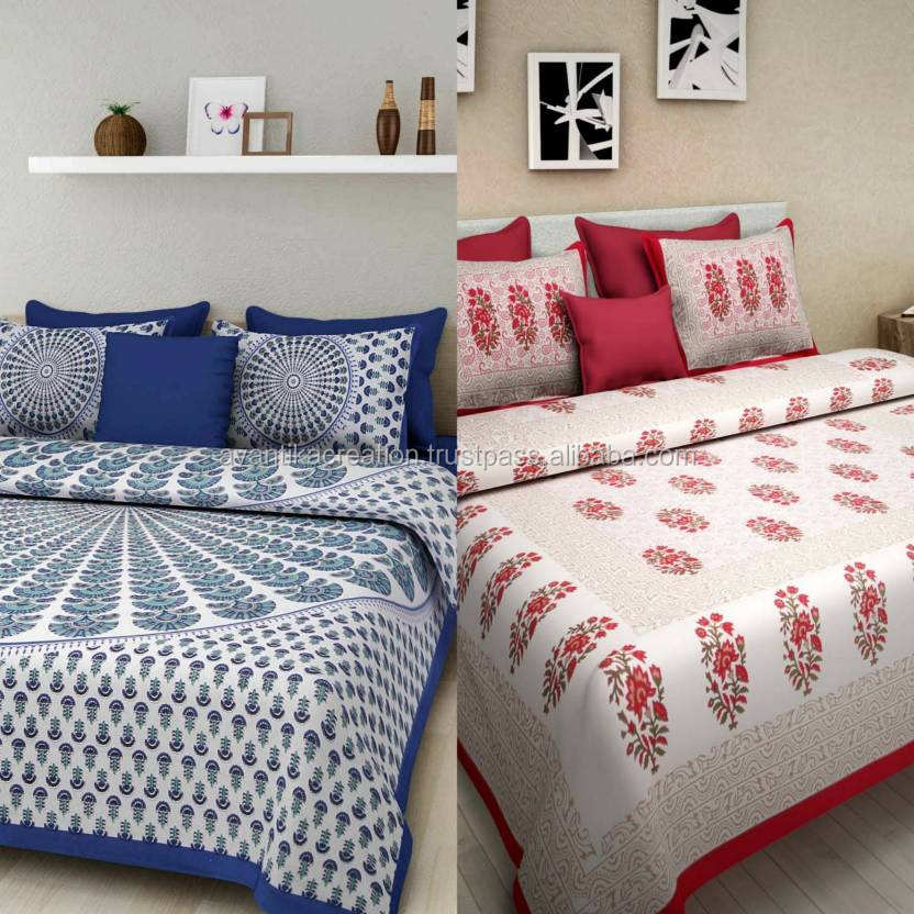 100% Soft Cotton Jaipuri Bed Sheets Print King Size Bed Sheets with 2 Pillow Covers Handmade Bed Sheets