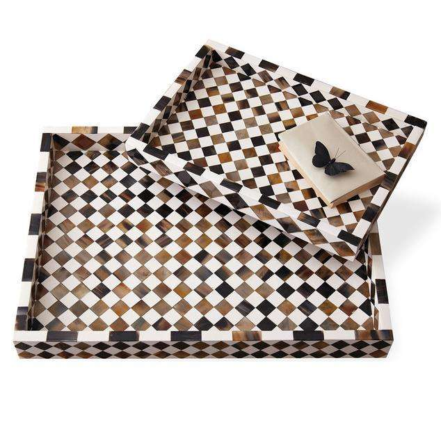 Beautiful Wooden & Bone Inlay Large Decorative Serving Tray/Handmade Serving Tray