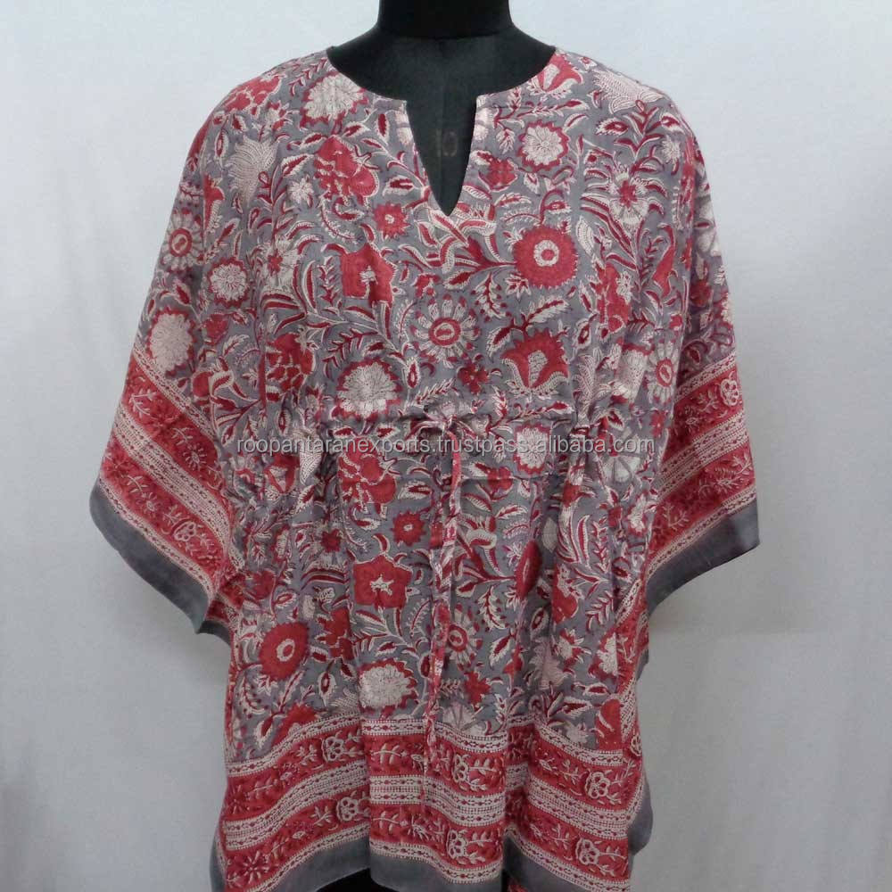 New design unique beach dress free size lady string block printed cotton kaftan