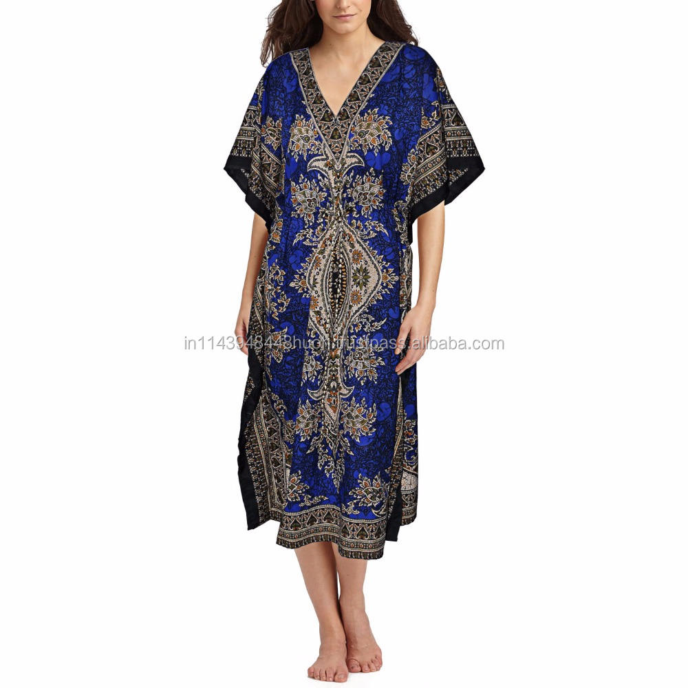 Kaftan dress, embellished Viscose Georgette snakeprint pattern beach/casual wear