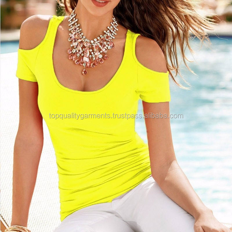 Latest Design Cheap High Quality Scoop Neck Women Girl Ladies Cold Shoulder Oversize Top Tshirt Yellow Sexy Cotton C Neck