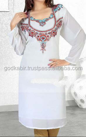 New Arrival Moroccan Caftan Women /Affinity Off White Color Fashionable Short Kaftan.