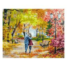 "Set for painting by numbers 40x50 Snow white 142-AB ""Autumn Park, bench, two"""