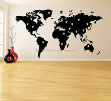 Vinyl Wall Decal World Map with Google Dots Earth Atlas Shiluette Art Decor Sticker Removable DIY Home Mural