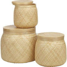 Set of three bamboo baskets with lids, natural color, home decor made in Vietnam