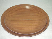 Anti-Slip Round Teak Wooden Food Tray, Wooden Tray, Water/Heat/Scratch Resistant, Tray, Plate, Brown Color Serving Tray