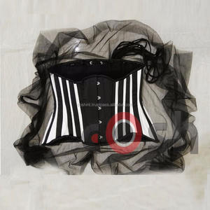 Plain Black Satin With White Boning Waist Training Steel Boned Curvy And Regular Corsets Supplier