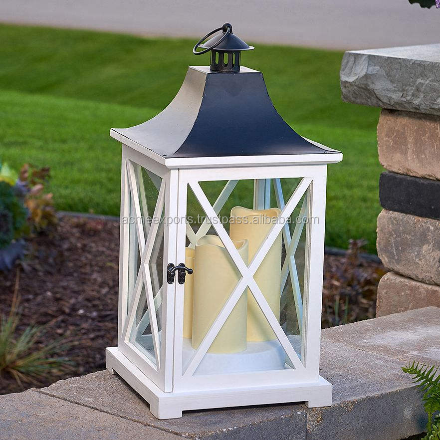 White Wooden Decorative Candle Lantern Square Candle With Metal Top