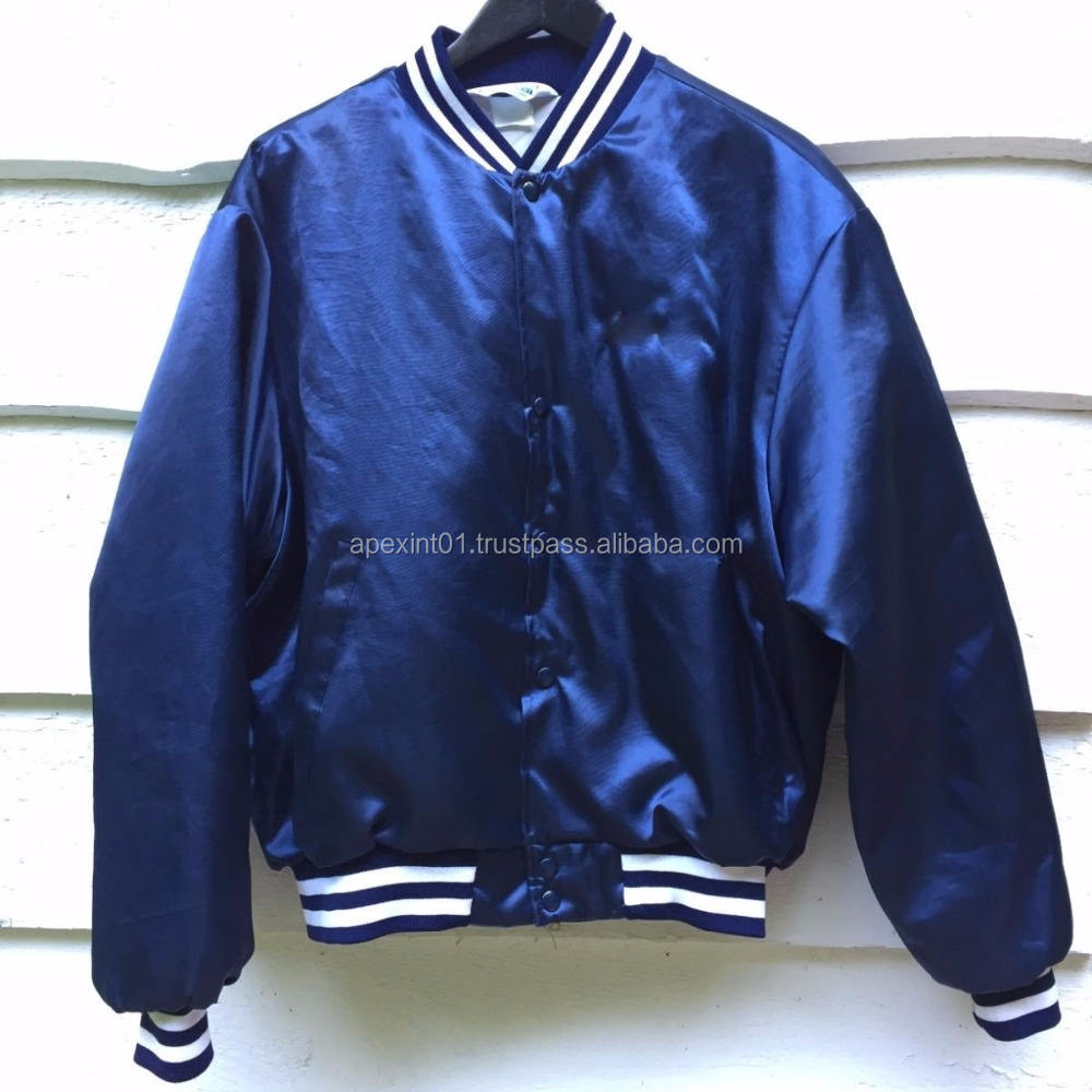 Baseball Jacket/Navy Blue Custom Satin Bomber Jacket/Satin Baseball Jacket mens