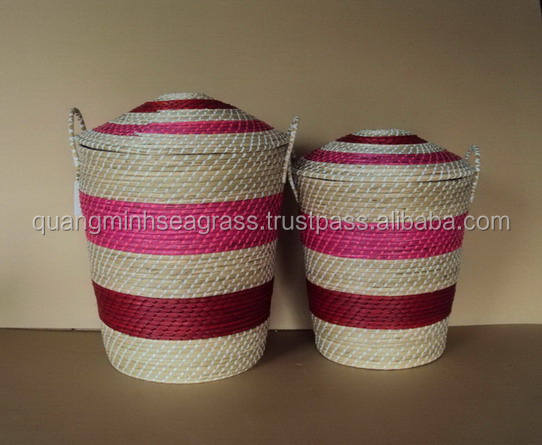 Classical design natural wicker laundry basket seagrass kids' toys basket high quality straw food basket