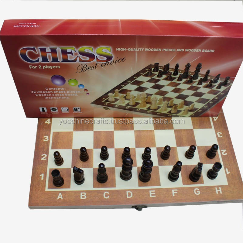 Wooden folding student chess set, outdoor chess set