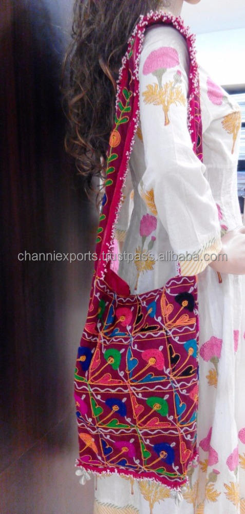 Fashionable hand embroidery ethnic banjara jhola bags with beads shells