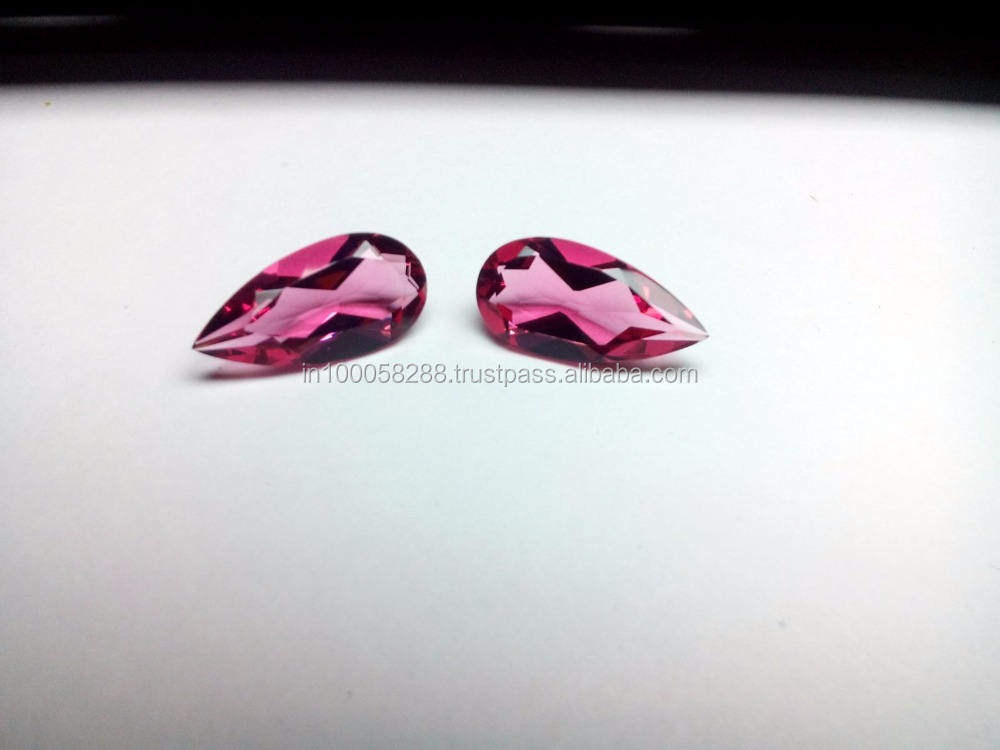 Synthetic Pink Tourmaline Pear shape Glass Stone