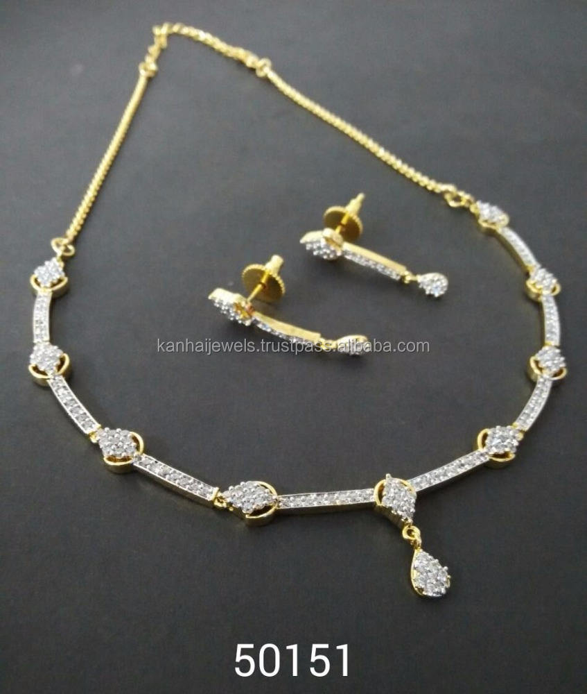Necklace set Manufacturers of CZ Fashion Jewellery for Women Wholesale Indian American Diamond Fancy High Quality Necklace