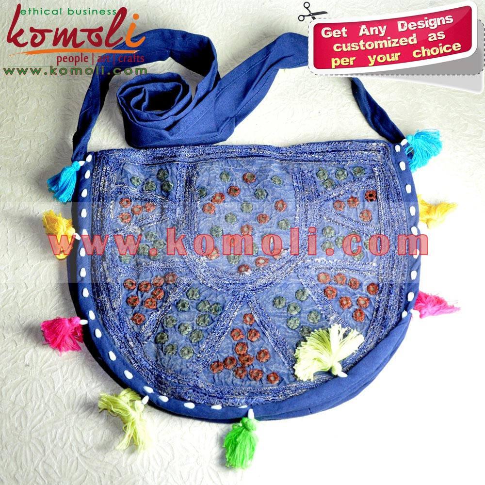 Denim ovale miroir et Patch travail sac à bandoulière - Banjara sacs