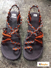 Dobbytex DBTS9 Brown Orange Black White Twist Handmade rope Sandals/Shoes Hill tribe / Hmong / Summer / African