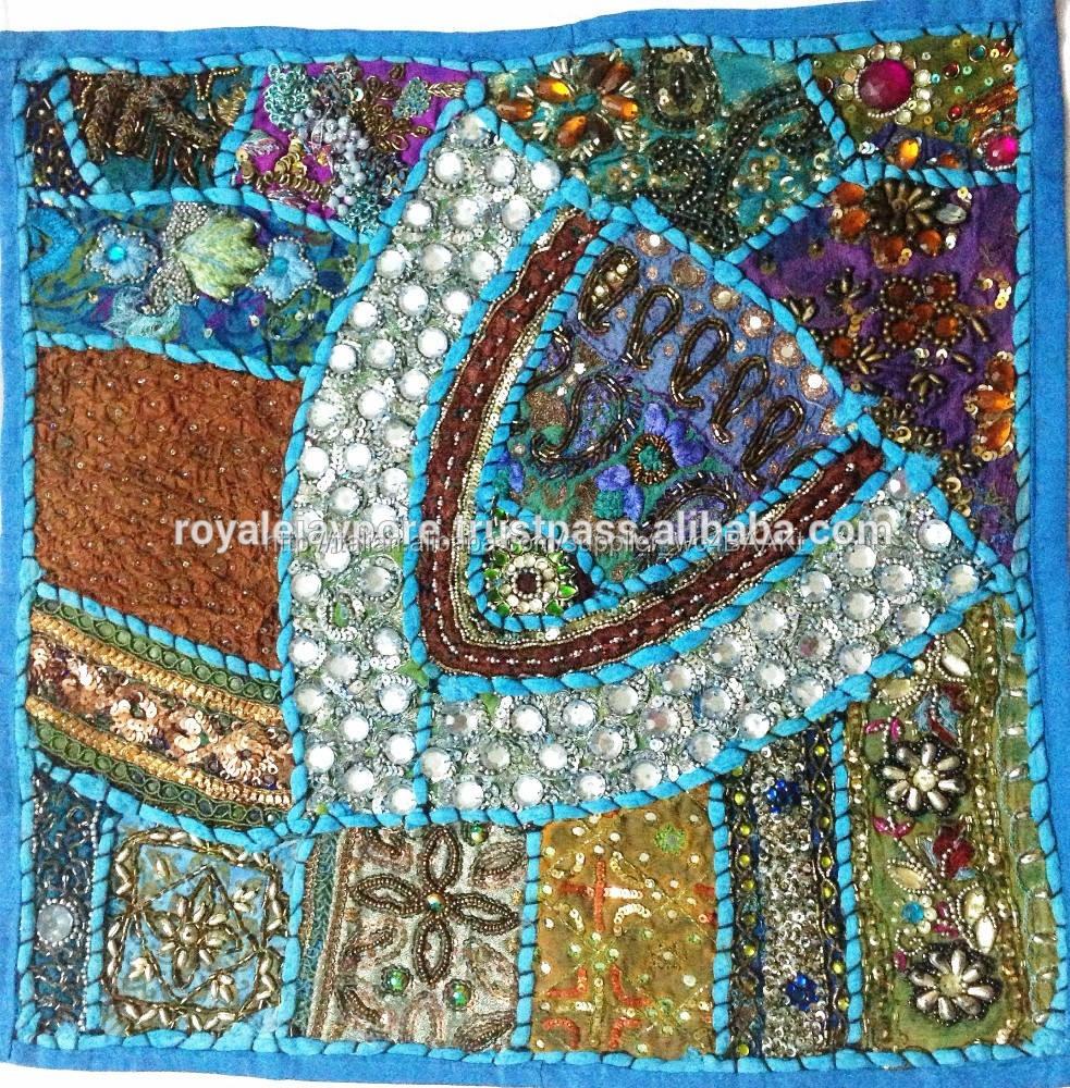 Indiana vintage sari patchwork decorativi specchio lavoro le federe per divano, accento cuscini sul pavimento indiano etnica