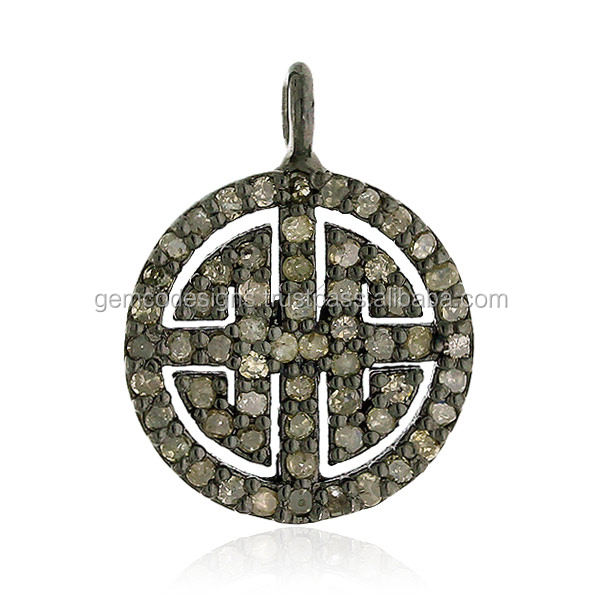 Chinese Labyrinth Pendant 925 Sterling Silver Pave Diamond Design Jewelry