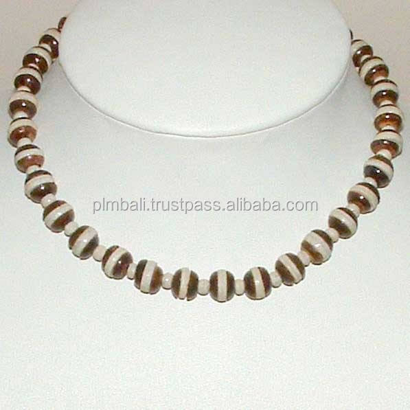 NB176- Streches beaded necklace with wooden coco beads