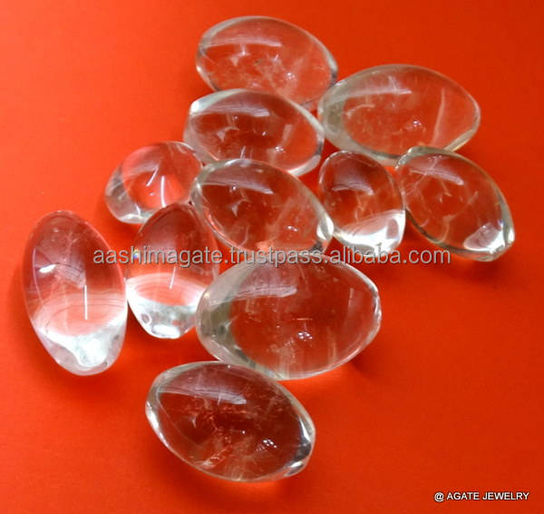 Gemstone crystal clear quartz shiva lingams
