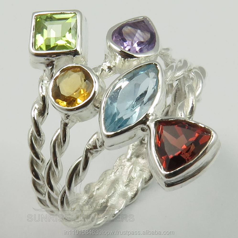 925 Solid Sterling Sliver Genuine Multistones ring Gemstone Beautiful Ring all Sizes ready stock custom designs