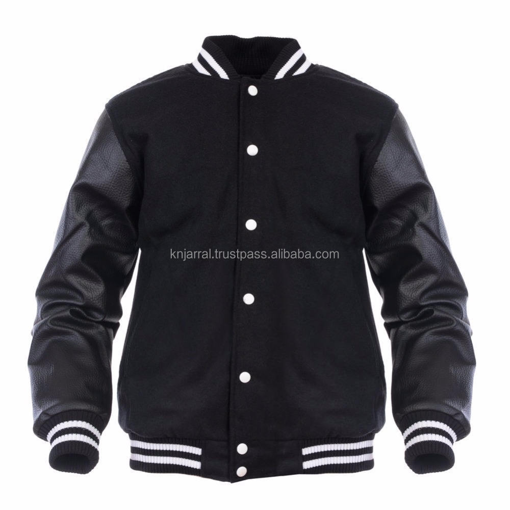 Top Stylish US Men Football Black Plain Varsity Jackets