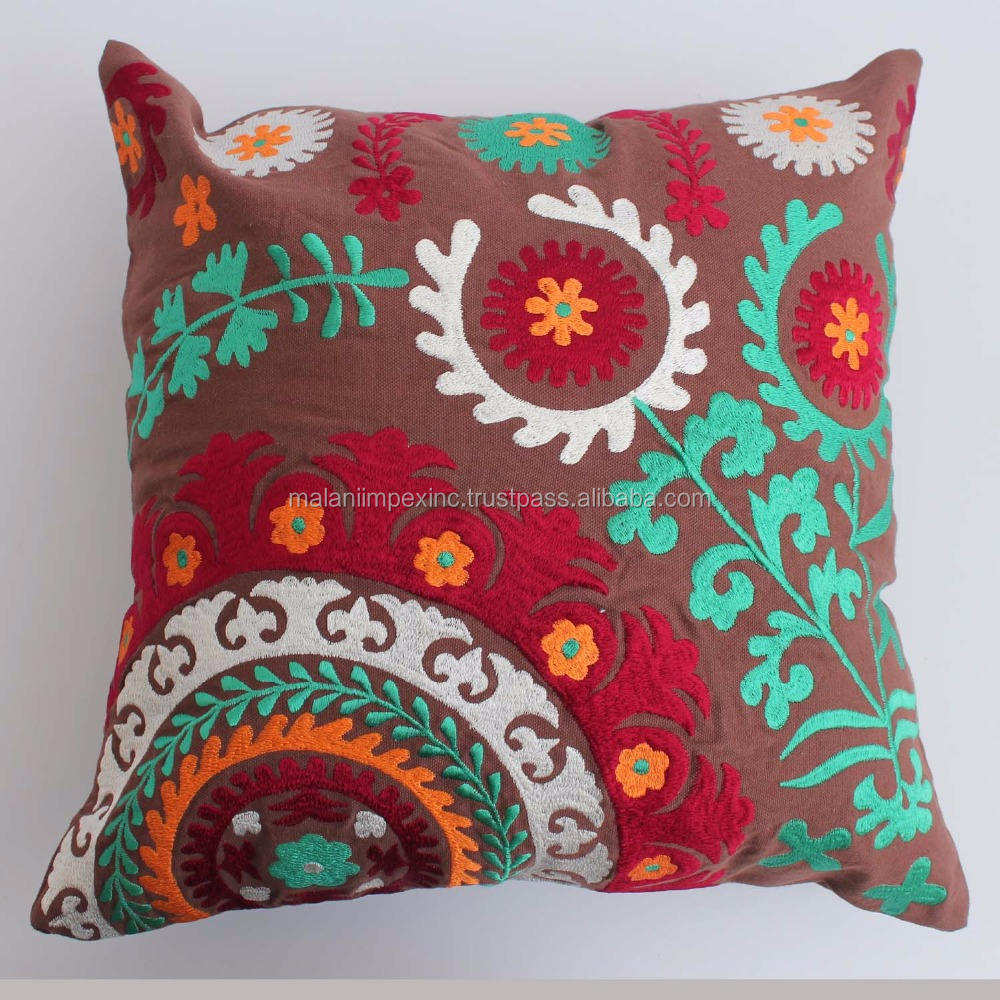 Indian manufacture colorful suzani pattern custom canvas embroidery cushion covers