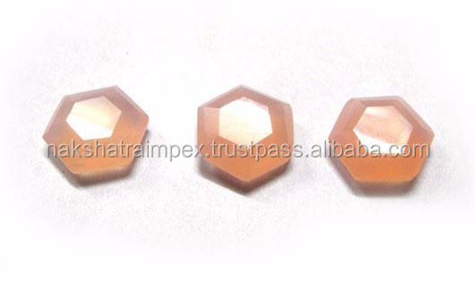 Rose Quartz Calci Hexagon Tablet Cut Losse Edelsteen