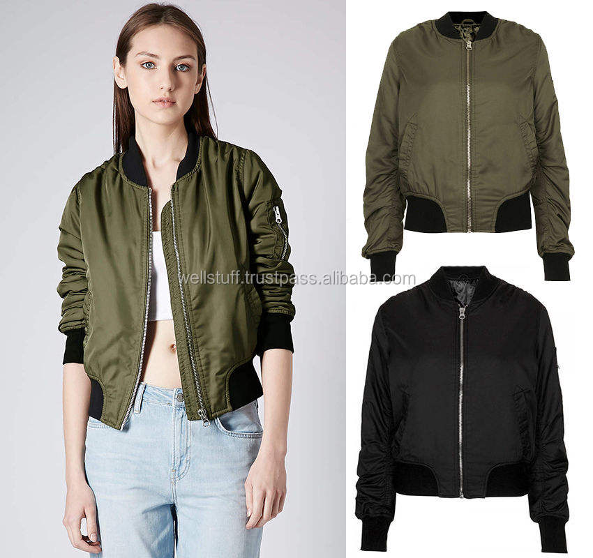 New Ladies Womens Flight Bomber Military Vintage Urban Girls Zip Up Jacket Coat