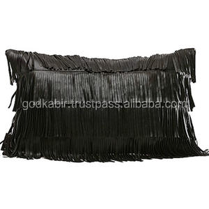 Fashion Modern Simple BLACK Color tassels purl PU leather Decorative Sofa Bed Kidney Pillow Cases Cushion Cover./Vintage leather