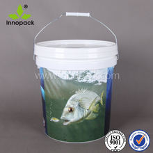 fishing bait round plastic bucket with In-Mold-Labeling printing